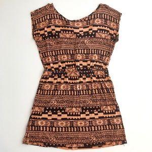 Tribal print pink-tone short dress